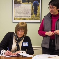 Owner, Lynne Bell, with Ausbon Sargent Land Protection Specialist, Beth McGuinn, at the the signing.