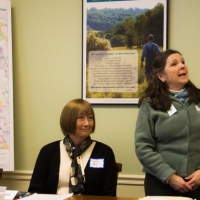 Owner, Lynne Bell, with Ausbon Sargent ExecDir., Debbie Stanley, following the January, 2014 closing of the Stoney Brook Conservation Easement Project.