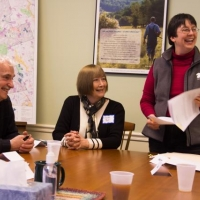 NH Audubon President, Mike Bartlett with landowner, Lynne Bell, and Beth McGuinn of Ausbon Sargent at the January closing of the Stoney Brook Project.