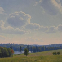 """""""Summer Clouds McAlvin Pond"""" by Lisa Jelleme #91 Star Lake Farm Easment"""