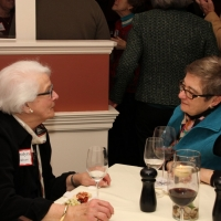 Trustee Kathy Carroll chats with Hilary Cleveland