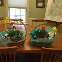 Raffle Gift Baskets prepped to go to the Inn