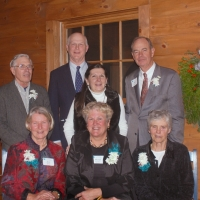 Some of the members of the original Board of Trustees gathered at the Holiday Party to kick off the 25th Anniversary of the land trust.  (Front L-R, Jan Kidder, Heidi Lauridsen, Sue Clough; Back, John Clough, Woody Blunt, Debbie Stanley and Bill Berger)