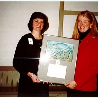Board Chair 1999-2000, Deirdre Sheerr with Teri Jillson White, Vice Chair in 2000 with Deirdre and Chair in 2001-2002.