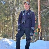 Sheridan Brown, Grantham Project Coordinator, readies for the Sawyer Brook Headwaters snowshoe/hike.