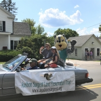 Our Ausbon Sargent mascot Seymour WoodsandFields rides in the NL Hospital Days Parade.