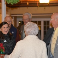 Debbie Stanley welcomes guests to our Annual Holiday Party at the New London Inn