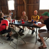 The post-ride chili feast at the NL Historical Society barn