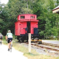 Riders on the Northern Rail Trail at the Potter Place lunch stop
